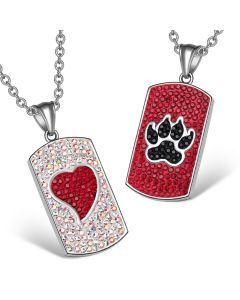 Heart Wolf Paw Austrian Crystal Love Couples Best Friends Dog Tag White Cherry Red Black Necklaces