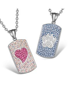 Heart and Wolf Paw Austrian Crystal Love Couples Best Friends Dog Tag White Pink Sky Blue Necklaces