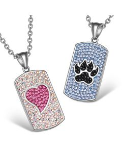 Heart Wolf Paw Austrian Crystal Love Couples Best Friends Dog Tag White Pink Black Blue Necklaces