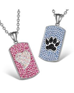Heart Wolf Paw Austrian Crystal Love Couples Best Friends Dog Tag Pink White Black Blue Necklaces