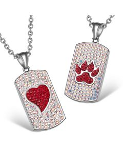 Heart Wolf Paw Austrian Crystal Love Couples Best Friends Dog Tag Rainbow White Red Necklaces
