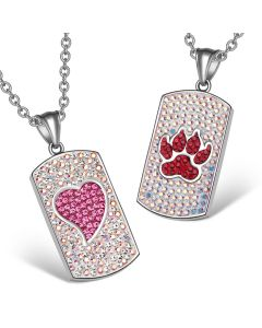 Heart Wolf Paw Austrian Crystal Love Couples Best Friends Dog Tag Rainbow White Pink Red Necklaces