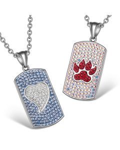 Heart and Wolf Paw Austrian Crystal Love Couples Best Friends Dog Tag White Sky Blue Red Necklaces
