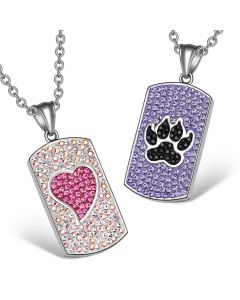 Heart Wolf Paw Austrian Crystal Love Couples Best Friends Dog Tag Purple Black Pink White Necklaces