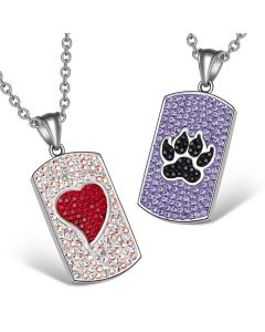Heart Wolf Paw Austrian Crystal Love Couples Best Friends Dog Tag Purple Black Red White Necklaces