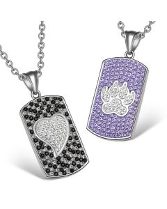 Heart Wolf Paw Austrian Crystal Love Couples Best Friends Dog Tag Jet Black White Purple Necklaces