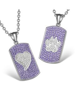 Heart and Wolf Paw Austrian Crystal Love Couples Best Friends Dog Tag White Purple Necklaces