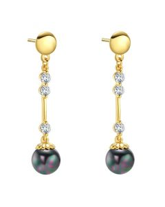 Beautiful Cute Mystic Black Simulated Pearl Magic Circles Gold-Tone Crystals Amulets Earrings