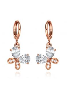 Fancy Cute Lucky Butterflies Charms Unique Gold-Tone Snow White Sparkling Crystals Fashion Earrings