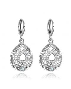 Beautiful Amazing Filigree Style Teardrop Lucky Charms Silver-Tone Crystals Amulet Earrings