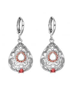 Beautiful Amazing Filigree Teardrop Lucky Charms Silver-Tone Royal Red Crystals Amulet Earrings