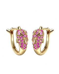 Cute Small Dolphins Lucky Charms Gold-Tone Positive Energy Amulets Royal Red Crystals Earrings