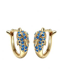 Cute Small Dolphins Lucky Charms Gold-Tone Positive Energy Amulets Royal Blue Crystals Earrings