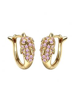 Cute Small Dolphins Lucky Charms Gold-Tone Positive Energy Amulets Sweet Pink Crystals Earrings
