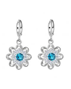 Fancy Magical Sunflower Positive Energy Charms Silver-Tone Aqua Blue Crystals Amulet Earrings