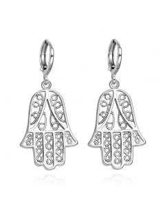 Beautiful Cute Evil Eye Protection Hamsa Amulets Silver-Tone Filigree Style Earrings