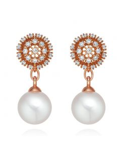 Beautiful Fancy Sunflower Style Positive Energy Crystals Simulated Pearls Gold-Tone Earrings
