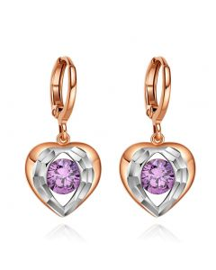 Angel Wings Forming Unique Heart Lucky Charm Gold-Silver-Tone Purple Sparkling Crystals Earrings