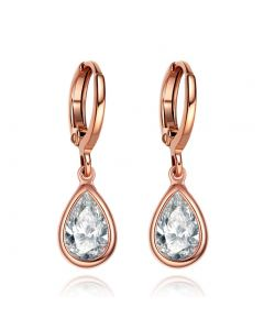 Beautiful Cute Teardrop Style Gold-Tone Lucky Charms Snow White Sparkling Crystals Fashion Earrings