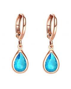 Beautiful Cute Teardrop Style Gold-Tone Lucky Charms Aqua Blue Sparkling Crystals Fashion Earrings