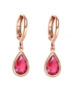 Beautiful Cute Teardrop Style Gold-Tone Lucky Charms Royal Pink Sparkling Crystals Fashion Earrings