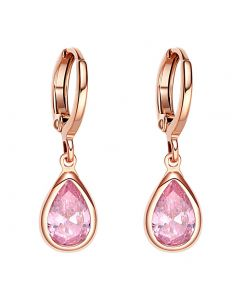 Beautiful Cute Teardrop Style Gold-Tone Lucky Charms Sweet Pink Sparkling Crystals Fashion Earrings