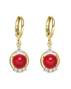 Beautiful and Fancy White Sparkling Crystals Cute Cherry Red Accents Gold-Tone Fashionable Earrings
