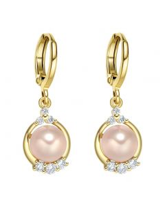 Beautiful Fancy Sparkling Crystals Soft Pink Simulated Pearl Gold-Tone Fashionable Eardrop Earrings