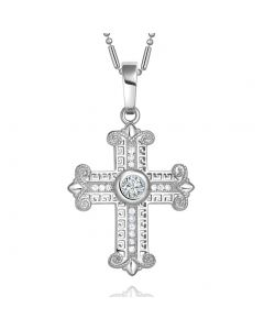 Amazing Cross Silver-Tone Stud Style Sparkling Crystals Positive Powers Amulet Pendant Necklace