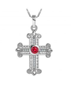 Amazing Cross Silver-Tone Royal Red Sparkling Crystals Positive Powers Amulet Pendant Necklace