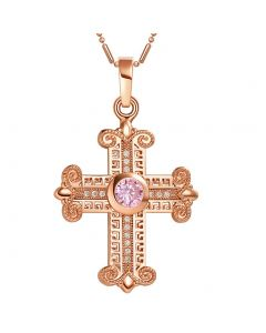 Amazing Cross Gold-Tone Sweet Pink Sparkling Crystals Positive Powers Amulet Pendant Necklace