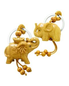 Amulet Baby and Mother Elephant Family Good Luck Charm Protection Feng Shui Keychain Set Blessings