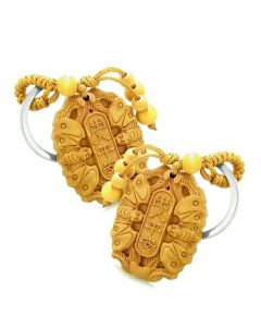 Amulet Double Lucky Bat Magic and Protection Powers Charms Feng Shui Symbols Keychain Set Blessings