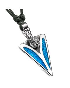 Arrowhead Grizzly Bear Head Brave Powers Protection Amulet Simulated Turquoise Pendant Adjustable Necklace