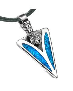 Arrowhead Grizzly Bear Head Brave Powers Protection Amulet Simulated Turquoise Pendant Leather Necklace