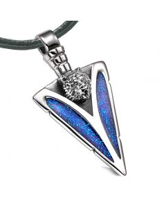 Arrowhead Grizzly Bear Head Brave Powers Protection Amulet Sparkling Royal Blue Pendant Leather Necklace