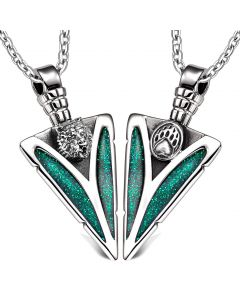 Arrowhead Grizzly Bear Head and Paw Love Couples BFF Set Protection Amulets Sparkling Green Necklaces
