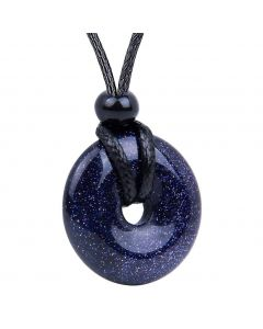 Amulet Lucky Coin Shaped Donut Blue Goldstone Charm Magic and Protection Powers Necklace