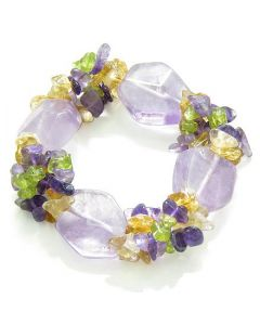 Amulet Faceted Amethyst Crystals with Peridot Citrine Amethyst Good Luck Protection Powers Bracelet