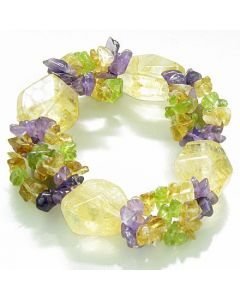 Amulet Faceted Citrine Crystals with Peridot Citrine Amethyst Chips Good Luck Money Powers Bracelet