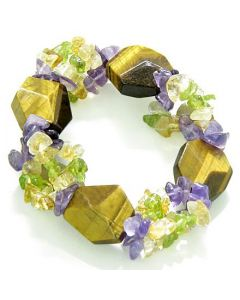 Amulet Healing Faceted Tiger Eye Crystal with Peridot Citrine Amethyst Chips Powers Bracelet