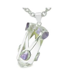 Brazilian Amulet Double Lucky Crystal Point Rock Quartz Tumbled Amethyst Positive Pendant Necklace