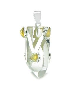 Brazilian Amulet Double Lucky Crystal Point Rock Quartz and Tumbled Citrine Positive Powers Pendant