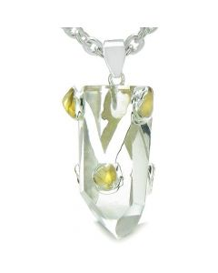 Brazilian Amulet Double Lucky Crystal Point Rock Quartz Tumbled Citrine Positive Pendant Necklace