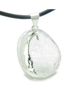 Brazilian Amulet Unique Half Rough Polished Quartz Magic Gemstone Healing Powers Leather Necklace