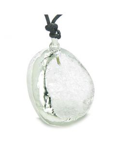 Brazilian Amulet Unique Half Rough Polished Quartz Magic Shaped Gemstone Healing Powers Necklace