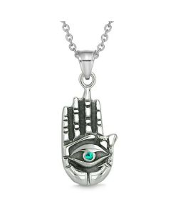 All Seeing Feeling Buddha Eye Hamsa Magic Powers Amulet Green Crystal Pendant Necklace