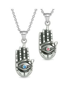 All Seeing Feeling Buddha Eye Love Couples Best Friend Amulets Blue Pink Pendant Necklaces