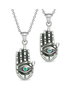 All Seeing Feeling Buddha Eye Love Couple Best Friend Amulets Blue Green Pendant Necklaces