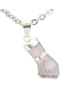 Brazilian Crystal Figa Rose Quartz Love Powers Amulet Italian Lucky Charm Pendant Necklace